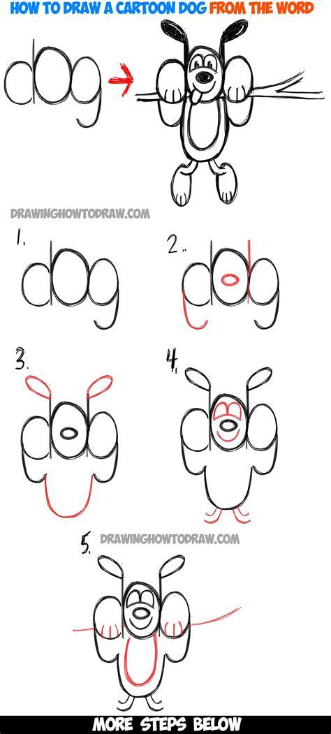 draw  cartoon dog hanging    word dog