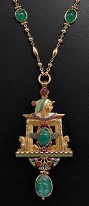 Jules Wiese Pearl Enamel Emerald Gold Egypt Pendant ...