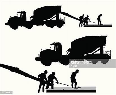 Cement Silhouette Vector Clip Truck Workers Illustrations