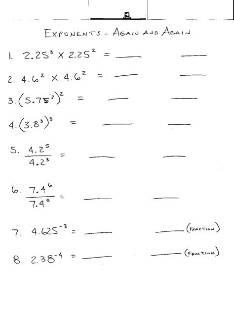 exponents worksheets 8th grade worksheets for all
