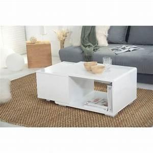 Table Basse Industrielle Avec Tiroir : table basse blanc laque avec rangement survl com ~ Teatrodelosmanantiales.com Idées de Décoration