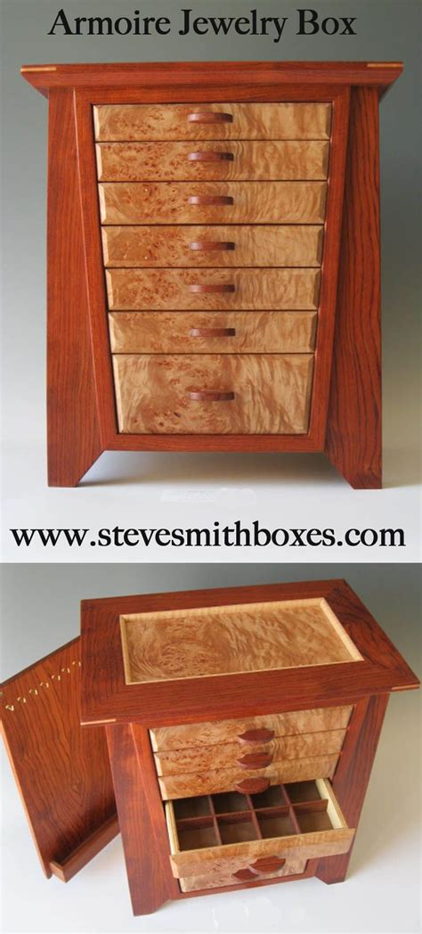 armoire jewelry boxes handcrafted  exotic woods steve