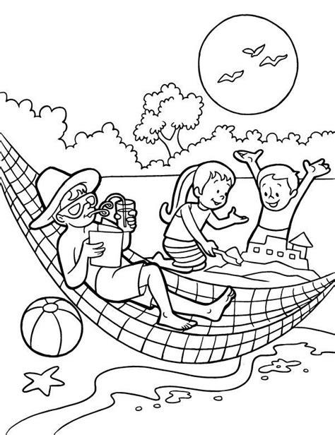 hamak na plaży kolorowanka do druku