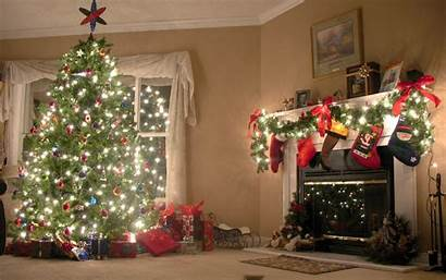 Fireplace Christmas Tree Backgrounds Living Fire Holiday