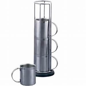 Support Tasse à Café : tasses caf inox avec support set de 4 art de la table ~ Teatrodelosmanantiales.com Idées de Décoration