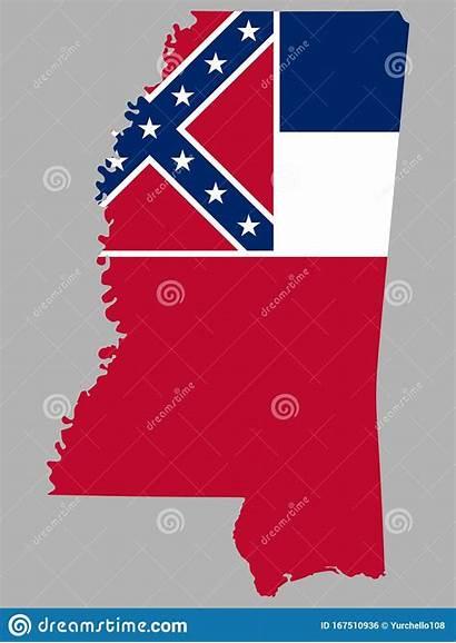 Mississippi Verenigde Vlag Staat Staten Amerika Kaart