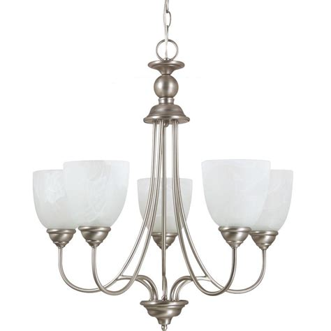 single chandelier sea gull lighting lemont 5 light antique brushed nickel