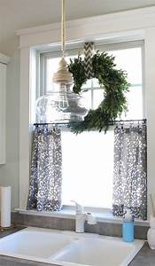boxwood wreath on top of small curtains for kitchen window With kitchen curtain ideas must know