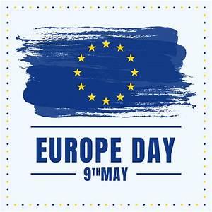 Europe Day Holiday Celebration Stars On Blue Painted ...