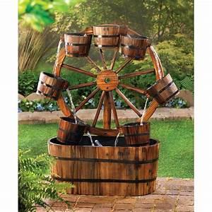 Rustic Fir Wood Wagon Wheel Fountain - Yard Garden Decor