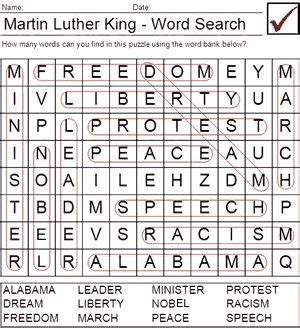 martin luther king worksheets for search puzzle