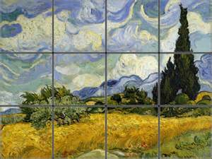 Bathroom Wall Tile Material by French Wheat Fields And Cypress Trees Tile Mural