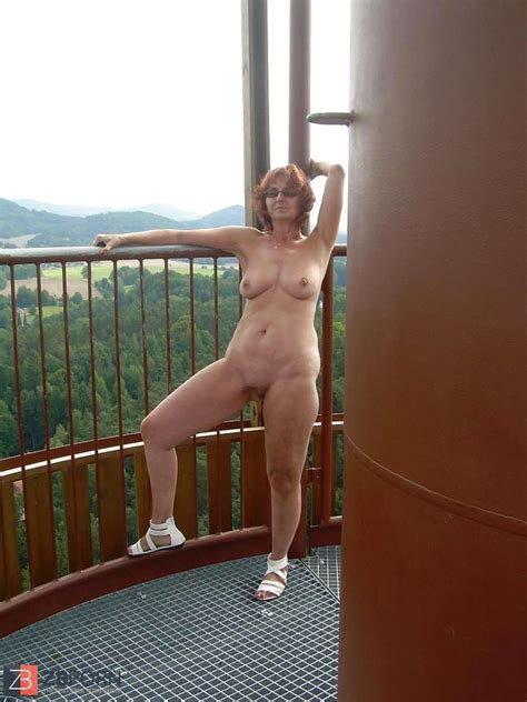Inexperienced Redhead Granny Posing Nude Outdoor ZB Porn