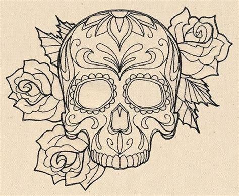 Black Outline Gangster Sugar Skull With Roses Tattoo