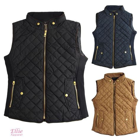 womens quilted vest s quilted padded vest black cognac navy sizes s m l