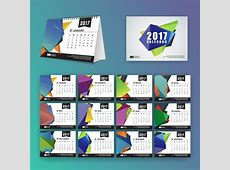 Calendar template with polygonal shapes Vector Free Download
