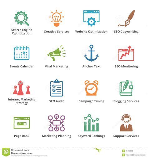 Seo Web Marketing by Seo Marketing Icons Set 5 Colored S Stock