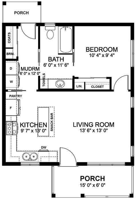 craftsman style house plan    bed  bath   small house floor plans guest