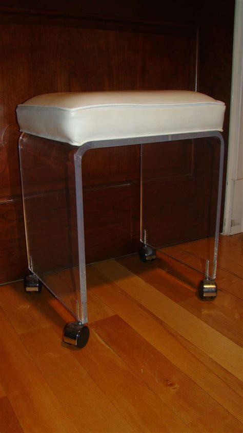 Rolling Vanity Chair Back by Lucite Mid Century Rolling Vanity Stool At 1stdibs