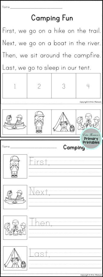sequencing stories camping  images  grade