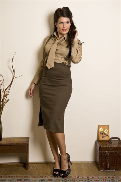 Soldier Heidi Braces pencil skirt olive green