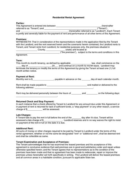 Apartment Lease Rental Agreement by Free Copy Rental Lease Agreement Residential Rental