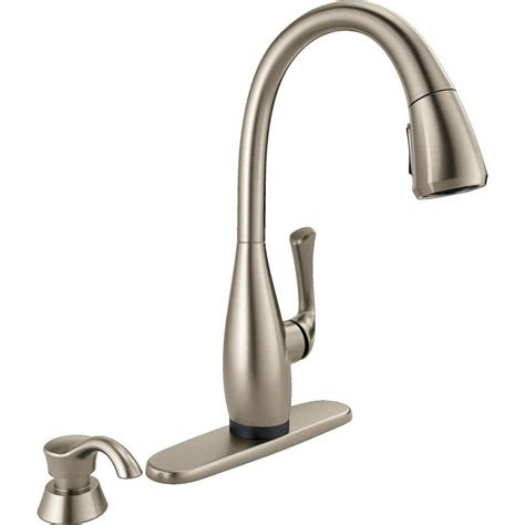 touch2o kitchen faucet delta dominic singlehandle pulldown sprayer kitchen faucet with touch2o technology and soap