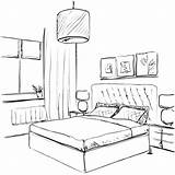 Bedroom Sketch Furniture Drawn Drawing Pencil Hand Interior Illustration Vector Room Bed Drawings Apartment Point sketch template