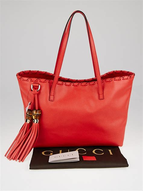 gucci red pebbled leather bamboo tassel tote bag yoogis closet