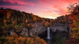 Waterfall, Between, Autumn, Trees, Covered, Forest, With, Colorful, Sunset, Hd, Nature, Wallpapers