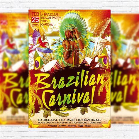 brazilian carnival flyer template brazilian carnival party premium psd flyer template