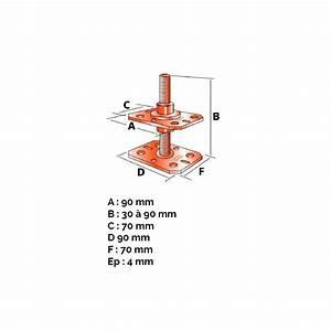 Cheville Bois 4mm : pied de poteau r glable de 30 90 mm manubricole ~ Premium-room.com Idées de Décoration