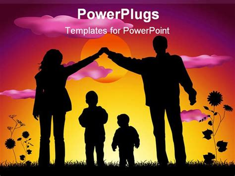 powerpoint template mother  father making heart