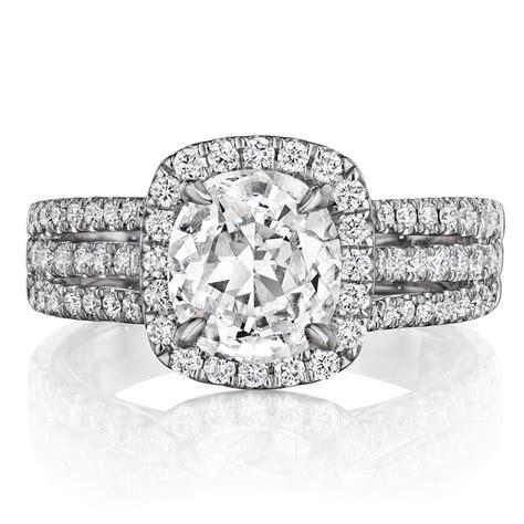 henri daussi atr cushion halo triple shank diamond engagement ring tq diamonds