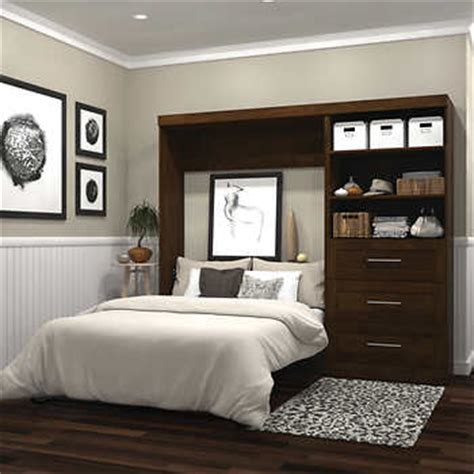 boutique full wall bed   storage unit  brown