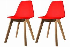 Chaise Scandinave Rouge : lot de 2 chaises scandinave coque rouge fjord chaise design pas cher ~ Teatrodelosmanantiales.com Idées de Décoration