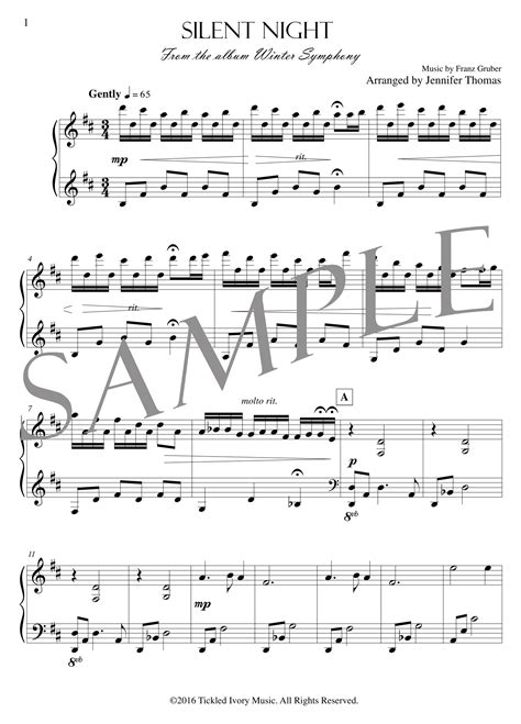 This sheet music is silent night by franz gruber arranged for piano by jim paterson. Silent Night - (PDF Sheet Music) — Jennifer Thomas Music