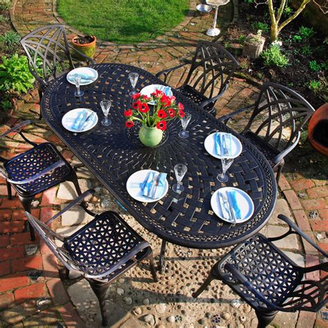 catherine oval 6 seater metal garden furniture set lazy