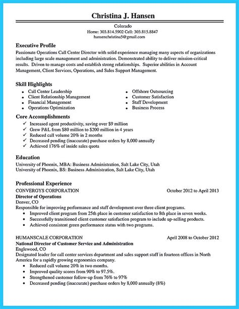 Call Center Objectives what will you do to make the best call center resume so