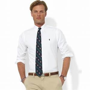 Lyst - Ralph lauren Custom Fit Broadcloath Blake Dress ...