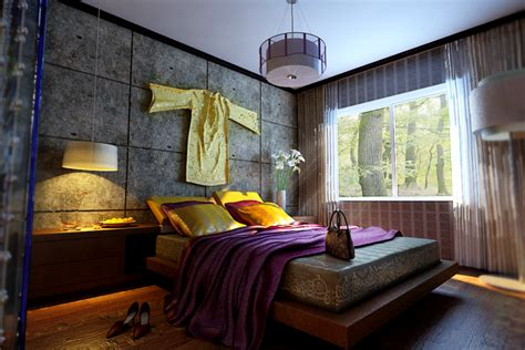 Indian Style Bedroom With Wooden Floor Fully Furnished 3d