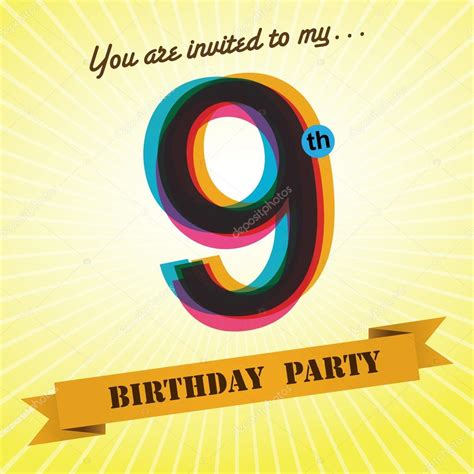 birthday party invite template design  retro style