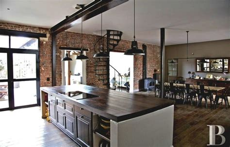 fascinating rustic industrial kitchen featuring rectangle