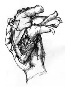 Hand Holding Human Heart Drawings