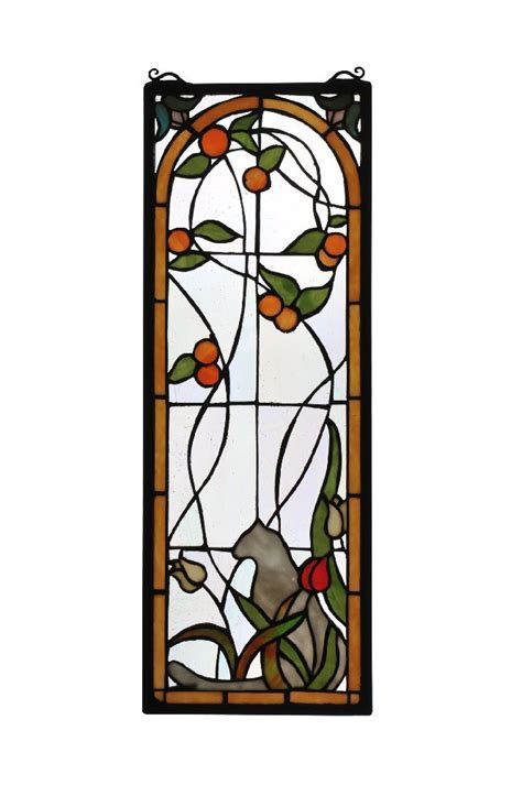 Meyda Tiffany 67117 Cat & Tulips Stained Glass Window