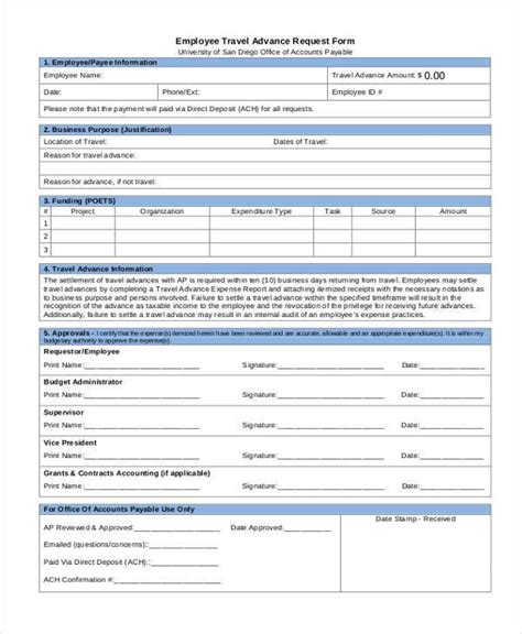 20026 employee advance form sle employee advance request forms 7 free documents