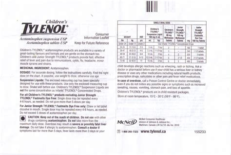 Tylenol Dosage Chart By Weight For Adults