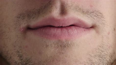 Close up young man lips caucasian male mouth unshaved ...