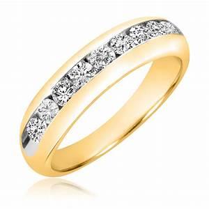 1 carat tw diamond men39s wedding band 14k yellow gold for Mens diamond wedding rings yellow gold