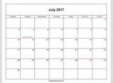 July 2017 Calendar With Holidays weekly calendar template